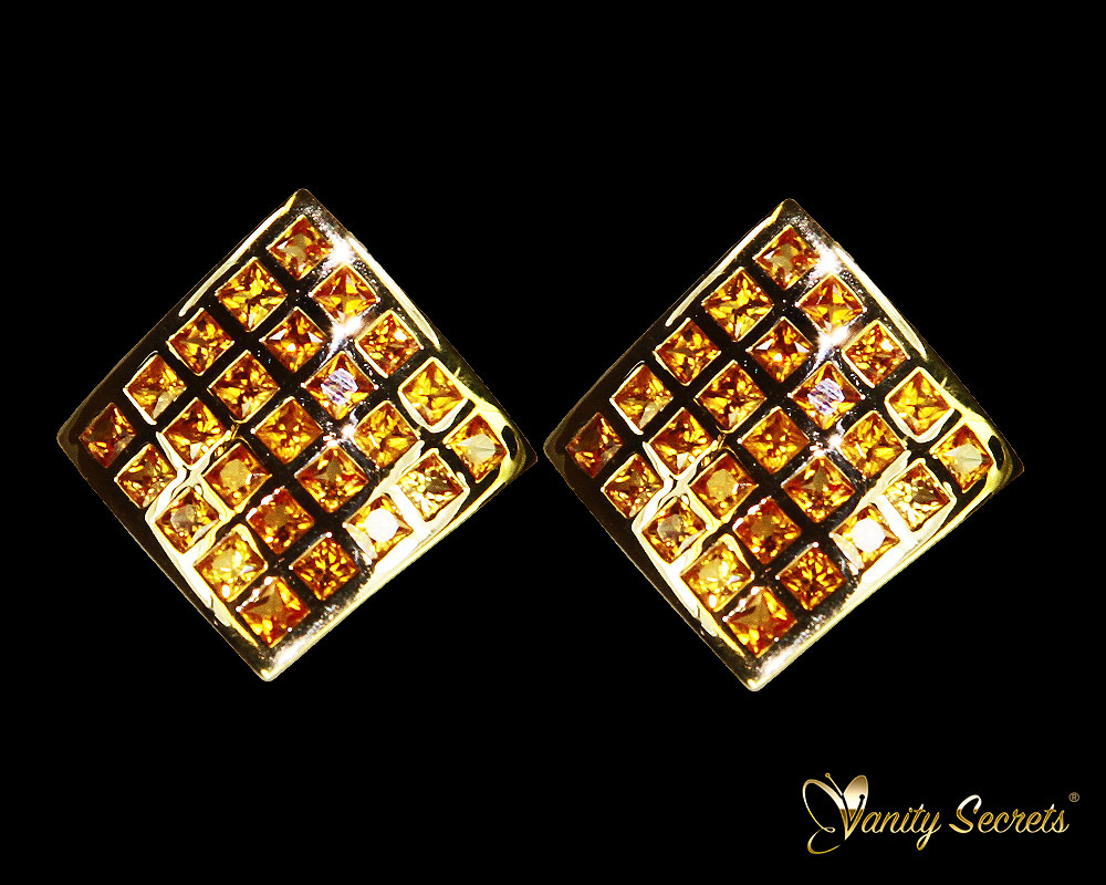 Vanity Secrets London Earrings Yellow Sapphire Princess Carree