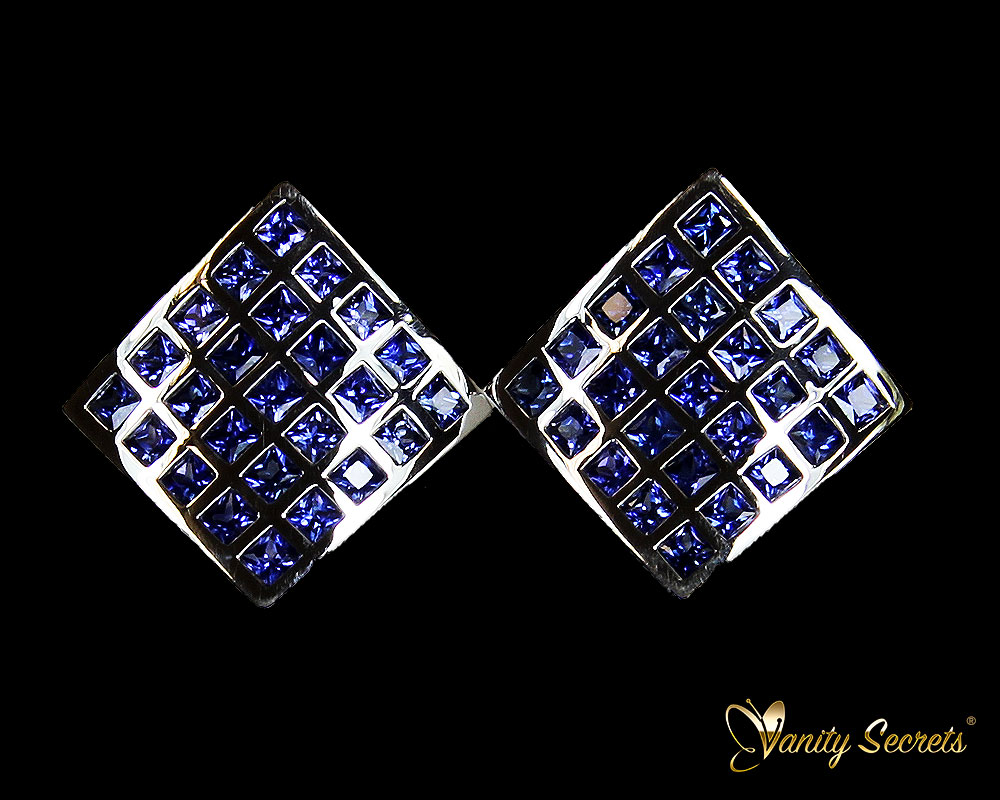 Vanity Secrets London Earrings Ceylon Sapphire Princess Carree