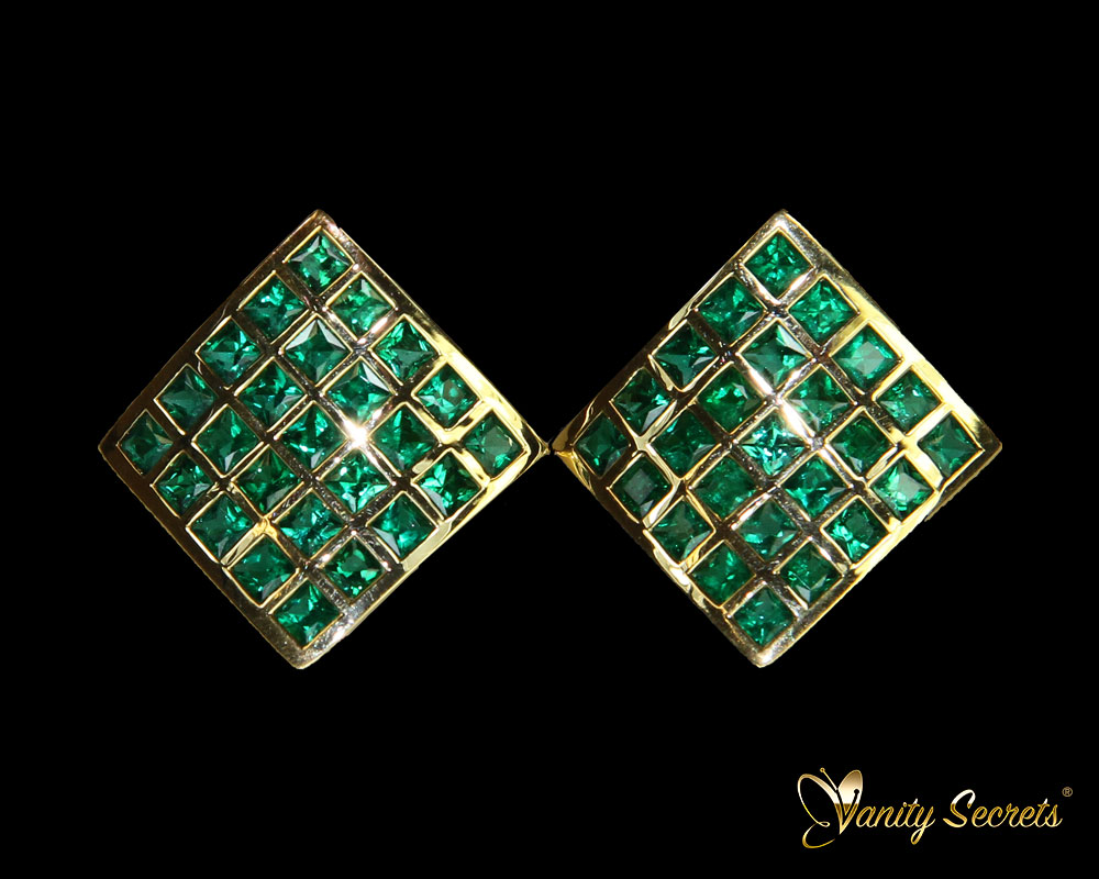 Vanity Secrets London Earrings Emerald Princess Carree
