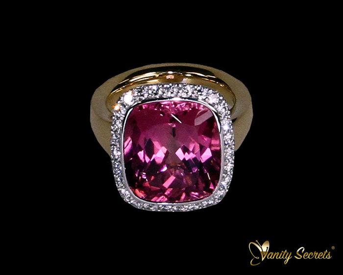 Vanity Secrets London Ring Pink Tourrmaline Diamond Brilliant