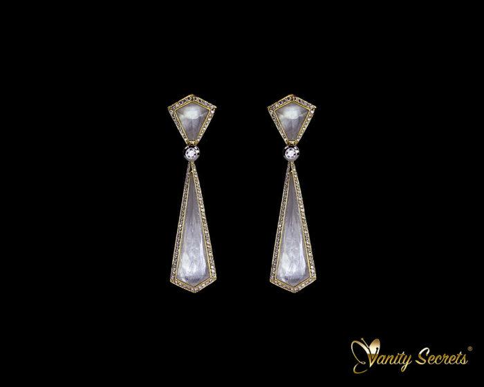 Vanity Secrets London Earrings rock crystal on mother of pearl