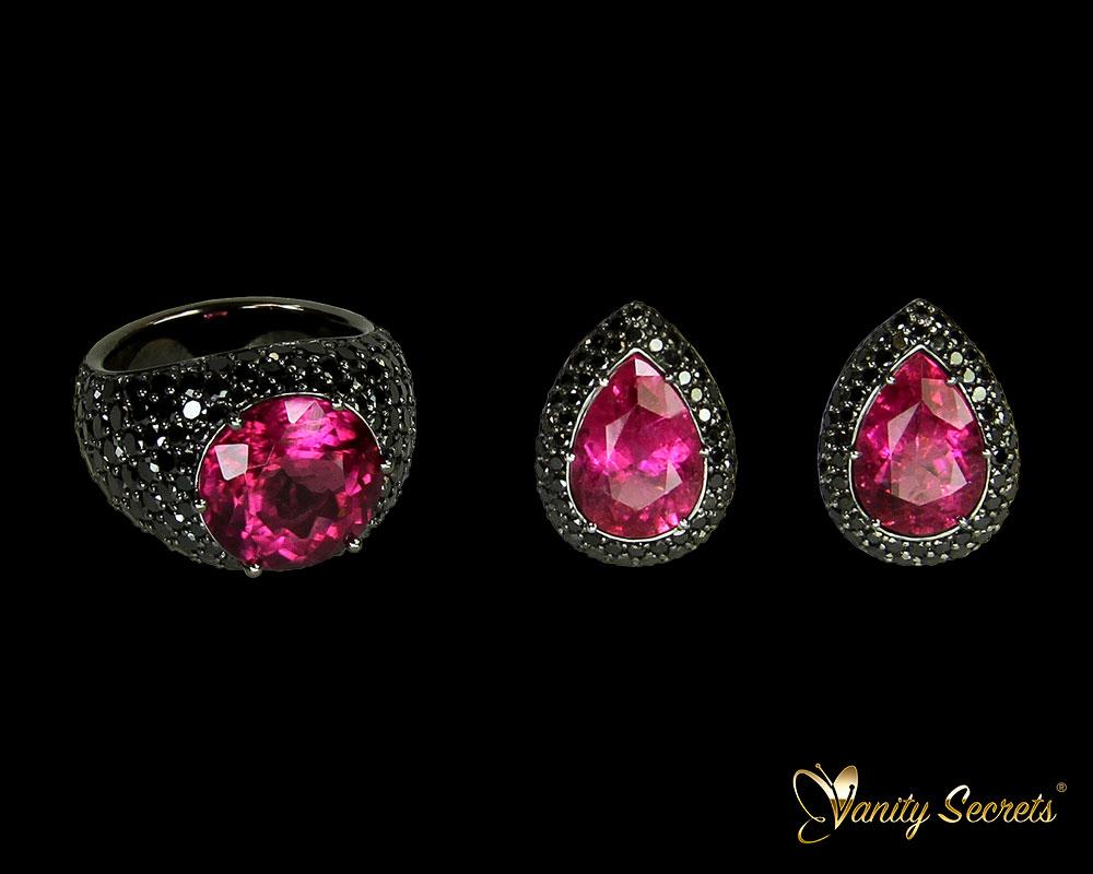 Vanity Secrets Londo Pink Tourmaline Black Diamonds
