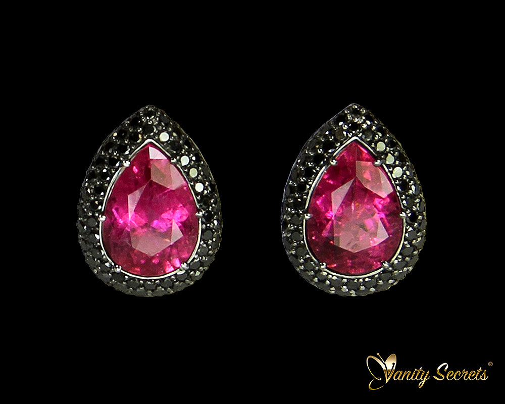 Vanity Secrets Londo Earrings Pink Tourmaline Black Diamonds