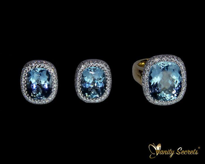 Vanity Secrets London Earrings Ring Aquamarine