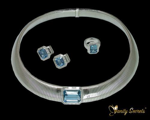 High Jewelry Aquamarine octagon Set - Vanity Secrets London
