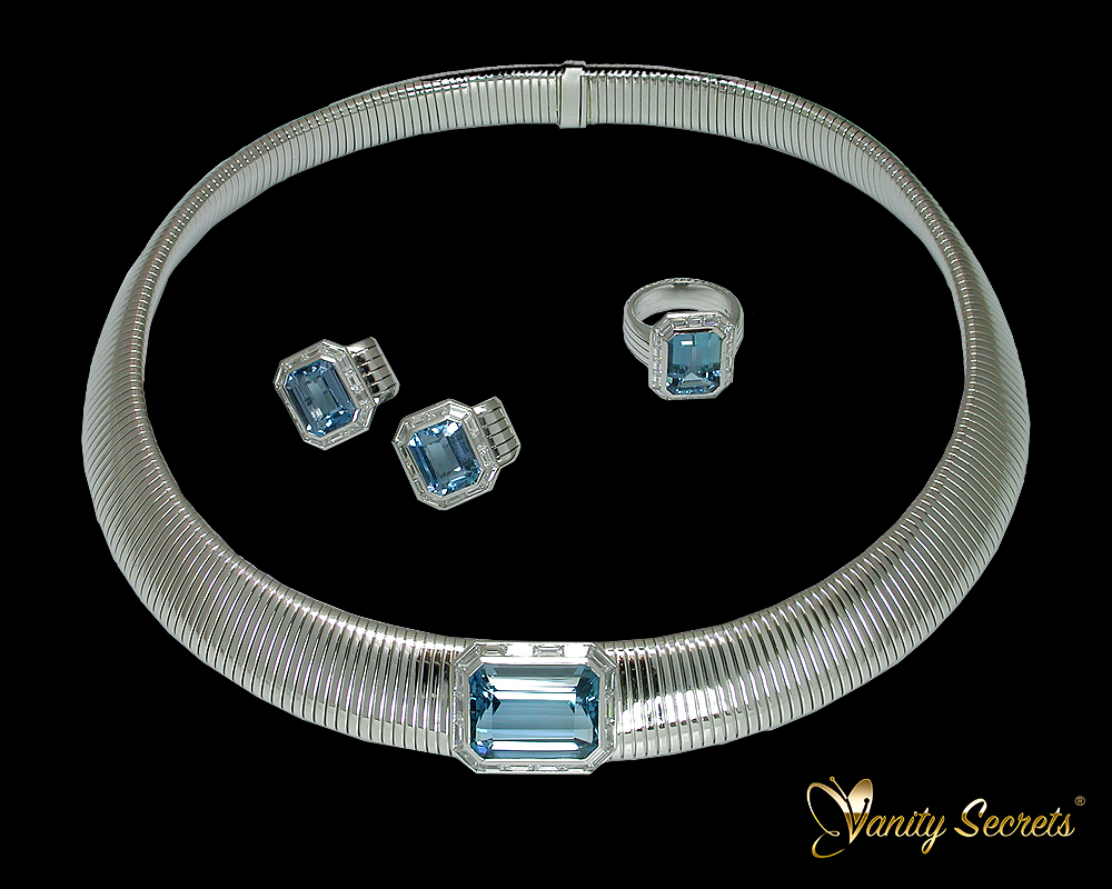 High Jewelry Aquamarine octagon Set - Vanity Secrets London